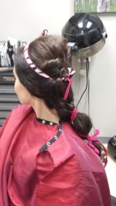 Here is a side view of the above hair style with two of our silk ribbons tied together.