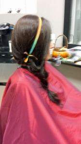 Simple silk hair band using Tequila Sunrise, Item #273.