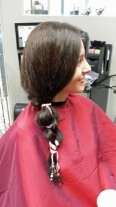 Agnieszka with silk through a braid using our Pale Pink Item #140 silk ribbon.