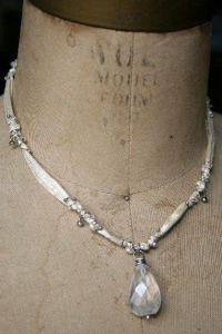 Silk ribbon glass pendant necklace