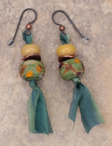 Silk ribbon dangle earrings with glass beads