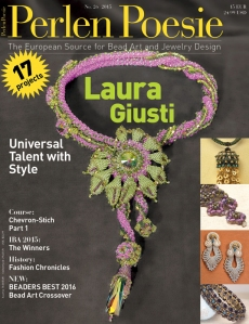 German magazine Perlen Poesie featuring Lisa's designs with our silk ribbons